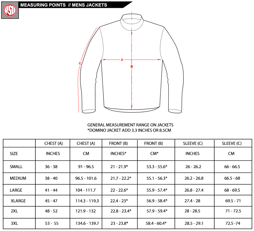 Jackets/Vests: Ladies Jackets/Vests: KIDS' Jackets: All men's fashion jackets run true to size to the standard U.S. sizing. You may also use the following formula to measure yourself for Mens Jackets and Vests and Order the size accordingly. Measure the circumference of your chest. If the measurement is 46, order a size