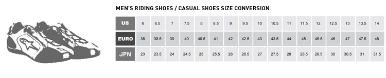 Check Alpinestars Size Charts Below Before Ordering Casual Riding Footwear Jpg